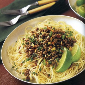 Thai-style Beef Salad over Angel-Hair Pasta