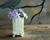 Vintage White Vase, Small White Flower Vase, Farmhouse Shabby Chic Home Decor - NostalgiaWarehouse