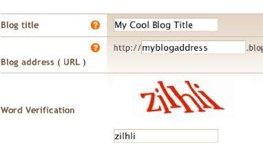 Skärmbild: Skapa en Blog*Spot-blogg