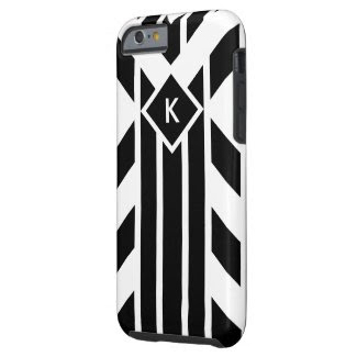 Black Quadrilateral Stripes on White with Monogram Tough iPhone 6 Case