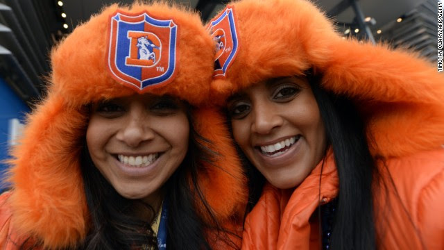Denver Broncos fans were dressed for the chilly weather in New Jersey