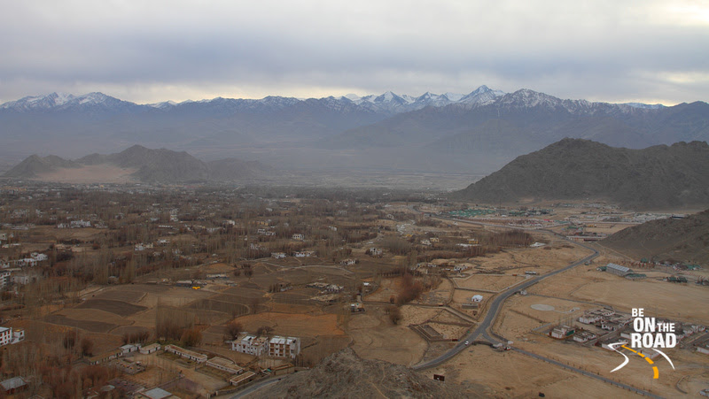 View of the army camps and the Leh city from Shanti Stupa
