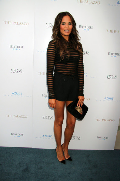 Model Chrissy Teigen attending Vegas Magazine's summer issue party at the Azure Luxury Pool at The Palazzo Las Vegas.