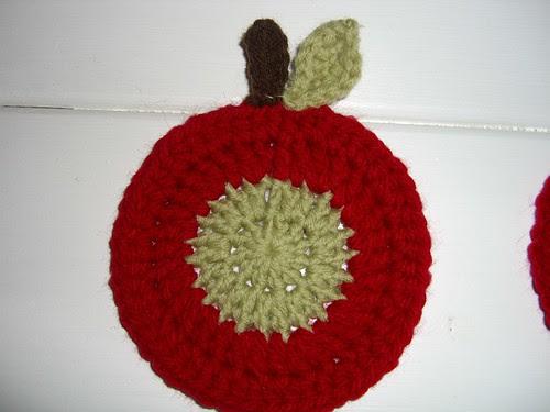 crochet apple coaster