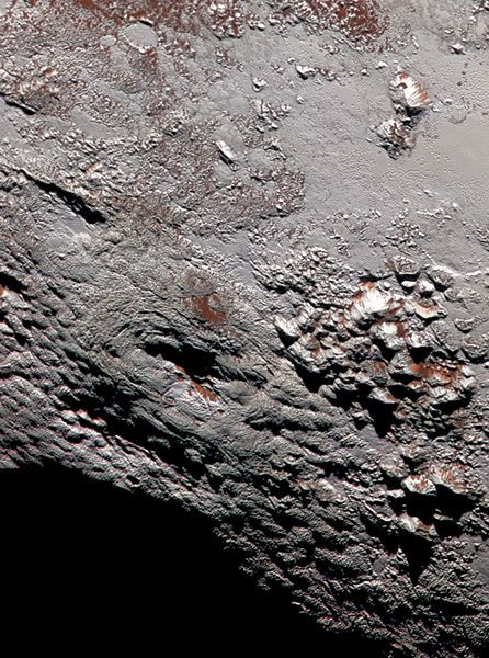 A high-res image of Pluto's Wright Mons region taken by NASA's New Horizons spacecraft...on July 14, 2015.