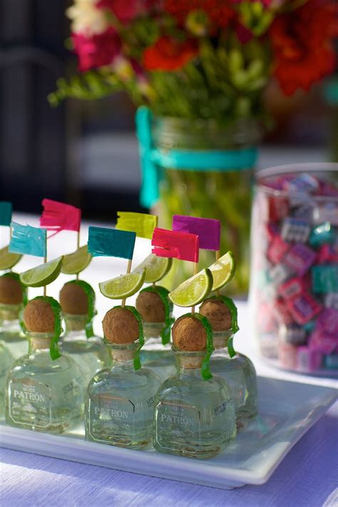 mini patron bottles  lime wedges  fiesta fringe