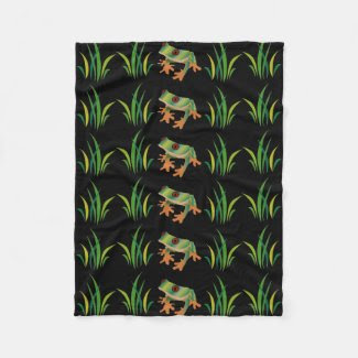 Tree Frogs Design on Fleece Blanket