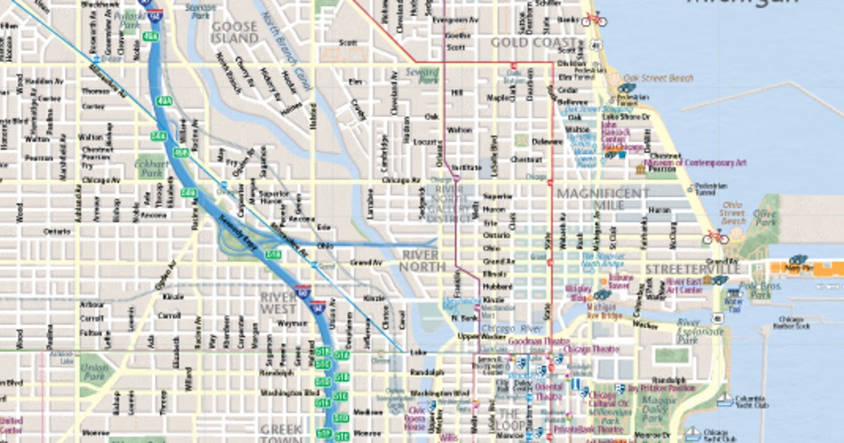 downtown chicago street map   zoning map