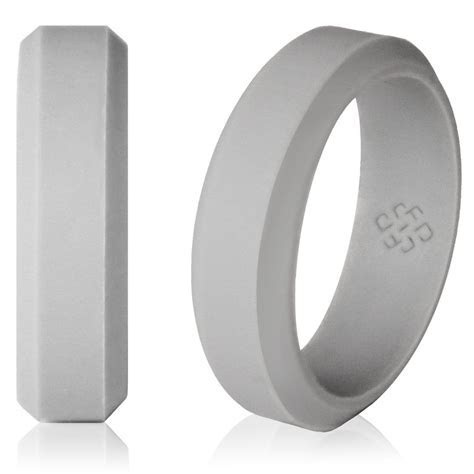 Light Gray silicone wedding ring! Modern beveled design. #