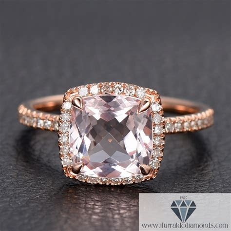 Modified Cushion Cut Morganite Diamond Pave Halo 14k Rose