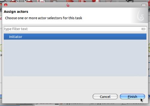 Janela de seleção de atores.