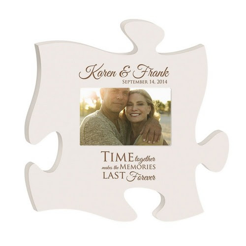 Anniversary Memories Personalized White Wooden Puzzle Piece 4x6