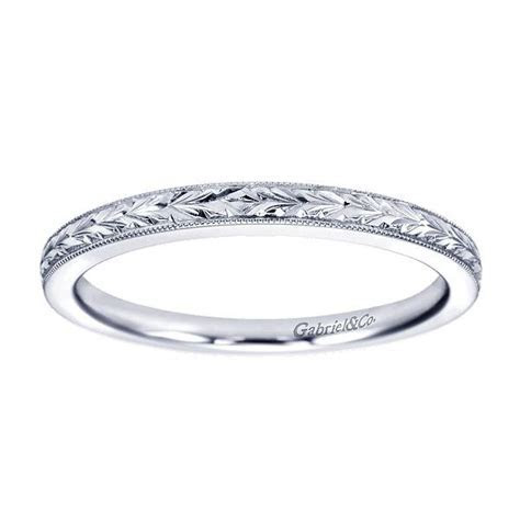 14kt white gold lady's engraved wedding ring   Gabriel