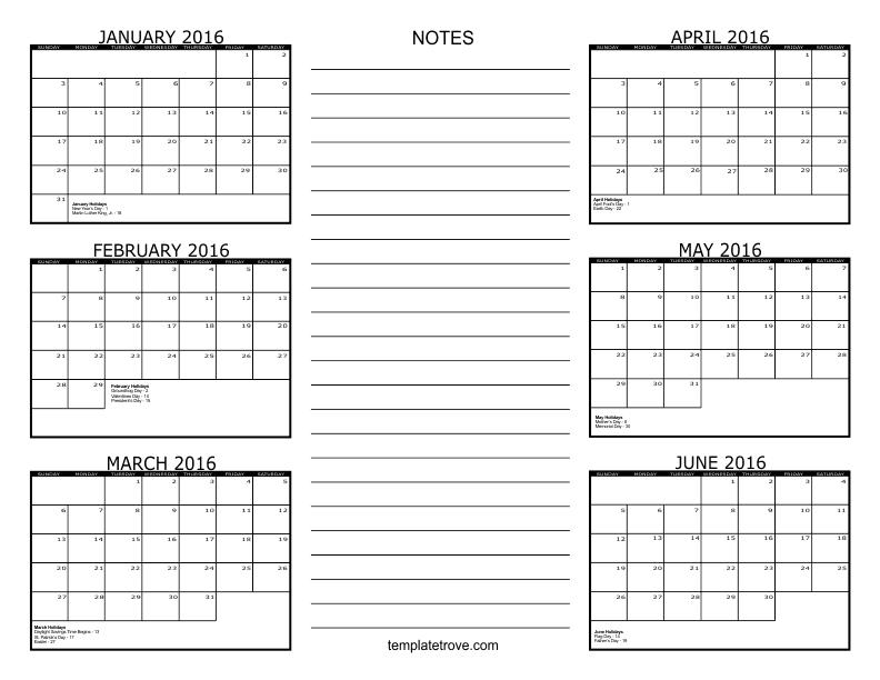 2016 6 Month Calendar 1 792