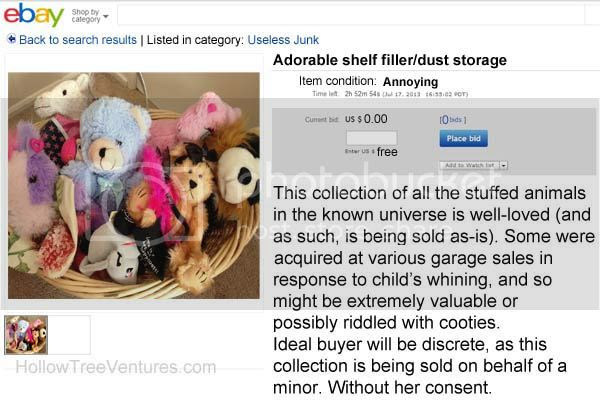fake ebay listing stuffed animals