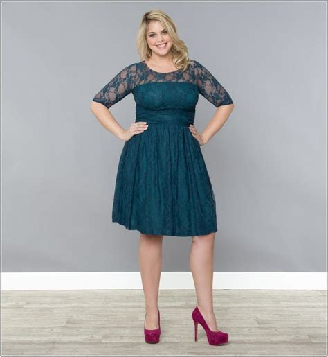 Plus Size Wedding Guest Dresses Dark Green Long Sleeve