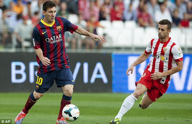 Missing: Messi is out for three weeks with a hamstring problem, picked up in Barcelona's win at Almeria