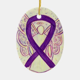 Purple Awareness Ribbon Angel Pendant Ornament