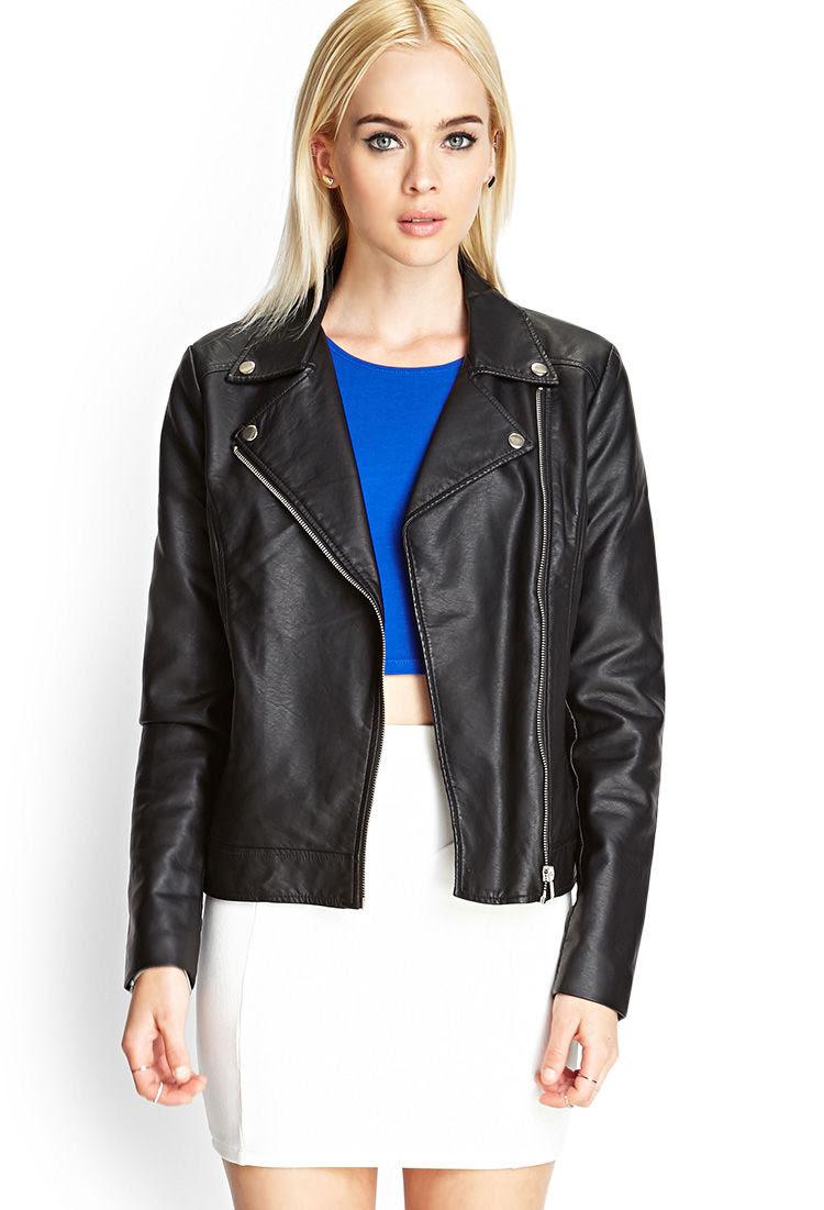 abeb8fc13 Black Sandals: Forever 21 Faux Leather Jacket