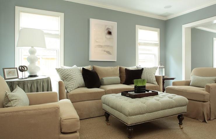 Greek Key Ottoman - Transitional - living room - Ashley Goforth Design