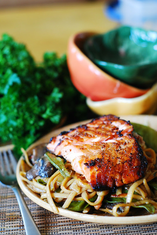 Asian salmon and noodles, Asian pasta