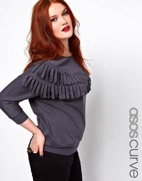 ASOS CURVE Sweat Top With Fringe