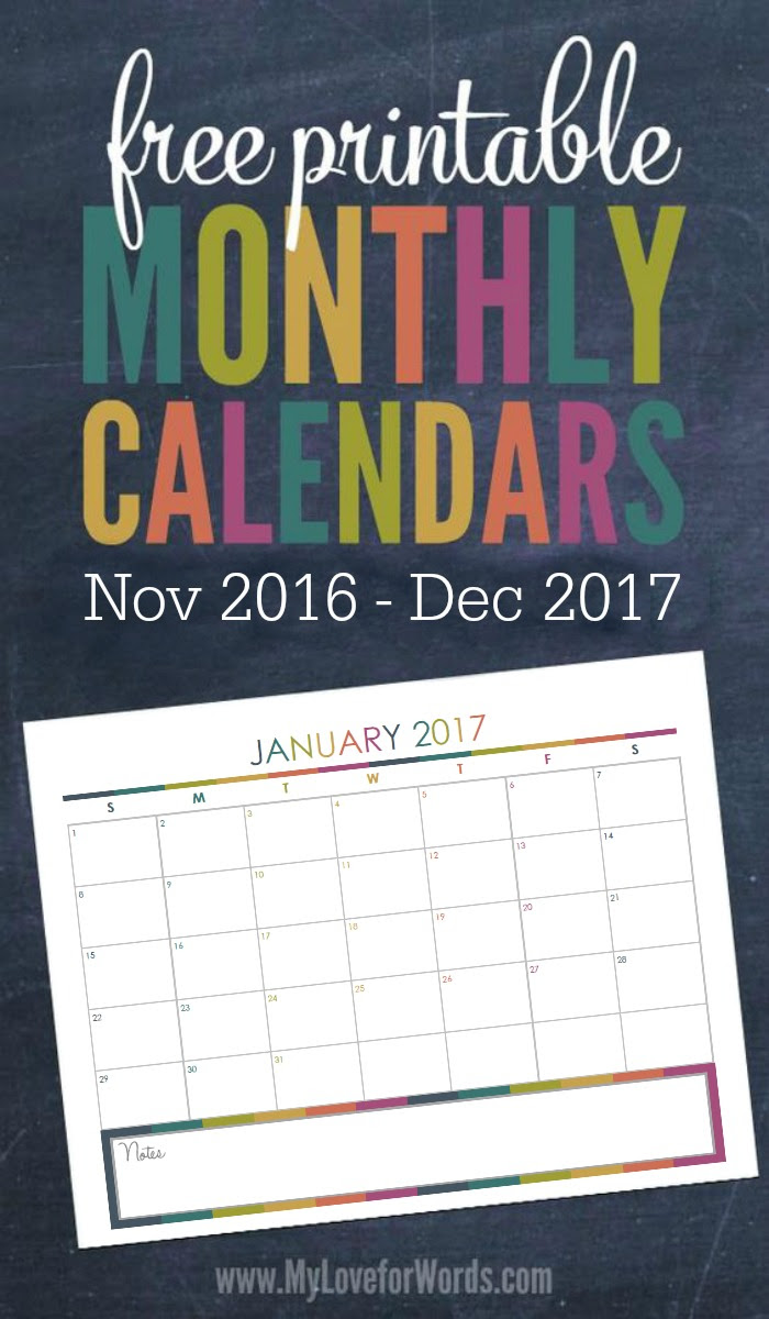Love these FREE printable 2017 monthly calendars!! Have your most organized year yet with these adorable monthly calendars and get your time, finances, meal planning, cleaning, organizing, passwords, goals, and more organized once and for all!