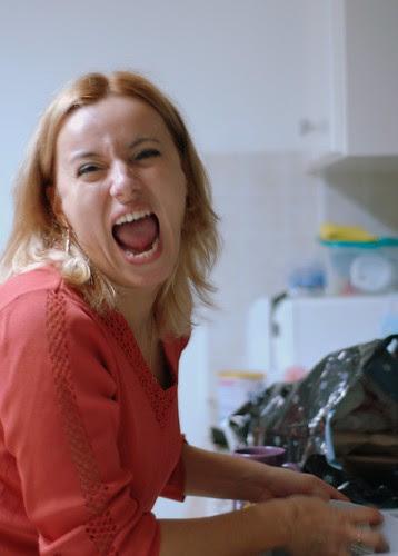 I., washing dishes