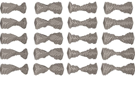 Ruptura de cuatro nanohilos. Cada bola representa un átomo de níquel. | P. García-Mochales (UAM) y S. Peláez (ICMM-CSIC).