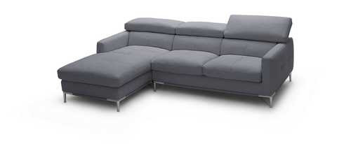 Pollard Leather Sectional Grey - Left Chaise