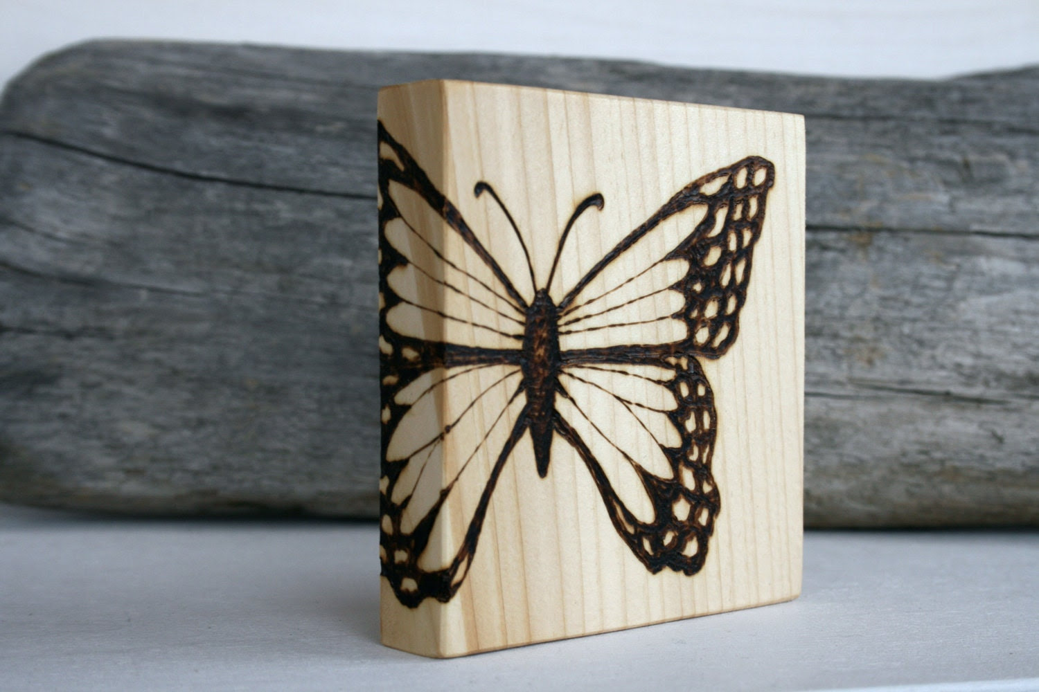 Butterfly- Art Block - Woodburning - TwigsandBlossoms