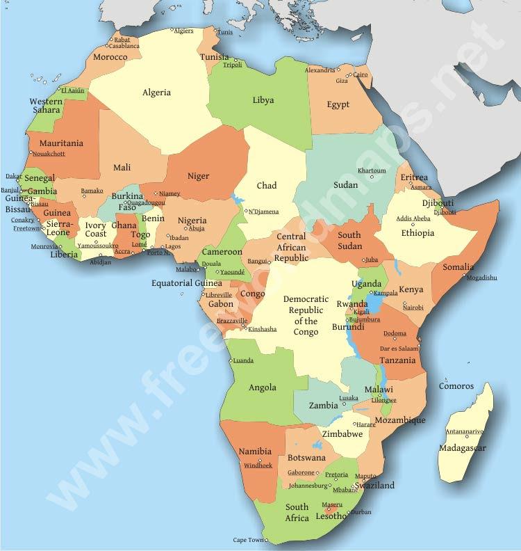 africa map no capitals