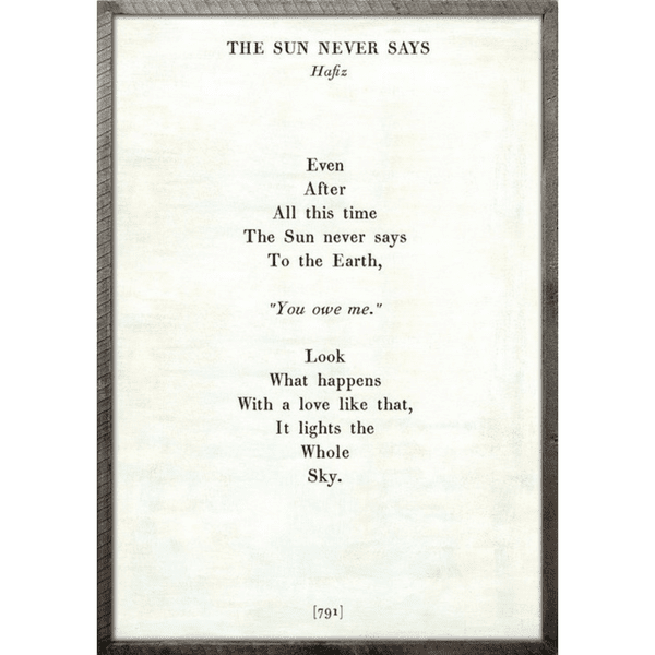 The Sun Never Says Poetry Collection Sugarboo Co