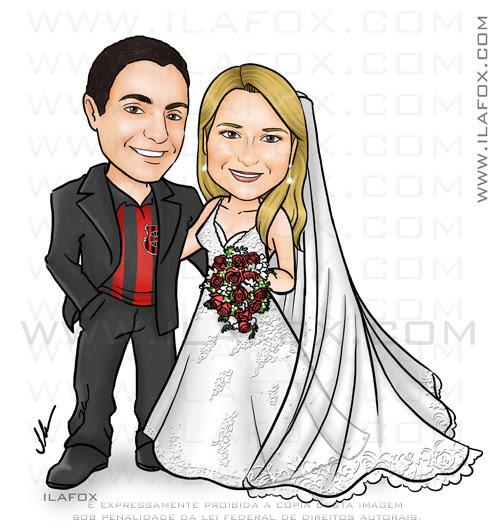 Caricatura Casal, noivos, corpo inteiro, colorido, véu longo, rendado, casalzinho Francine Everton, caricatura para casamento, by ila fox