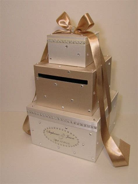 Wedding Card Box Champagne and Ivory Gift Card Box Money