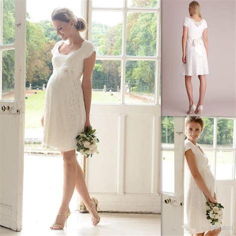 lace short pregnant bridal dress knee length maternity