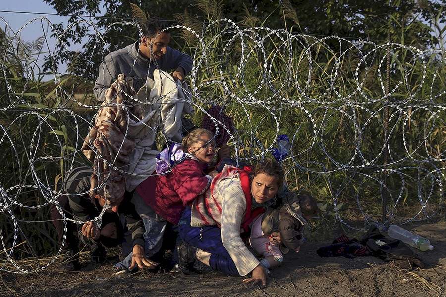 Syrian migrants cross under a fence as they enter Hungary at the border with Serbia, near Roszke (Bernadett Szabo, Thomson Reuters - August 27, 2015).