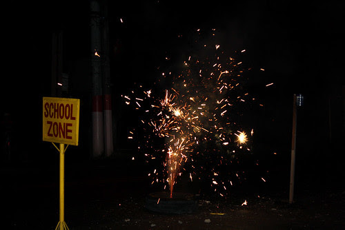 Fireworks and School Zone