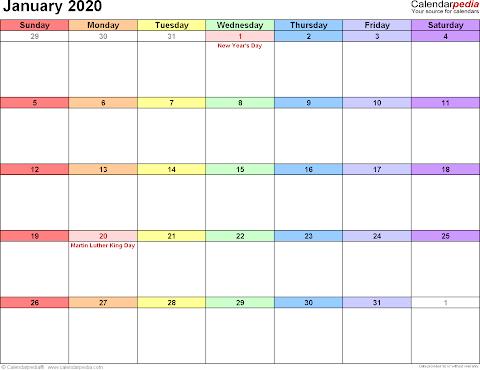 2020 Calendar January Month