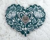 Hand Painted Dark Teal MUD Roses Cookie with Rhinestone Bling 16 - MargotTheMUDLady