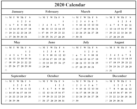 2020 Calendar Excel Yearly