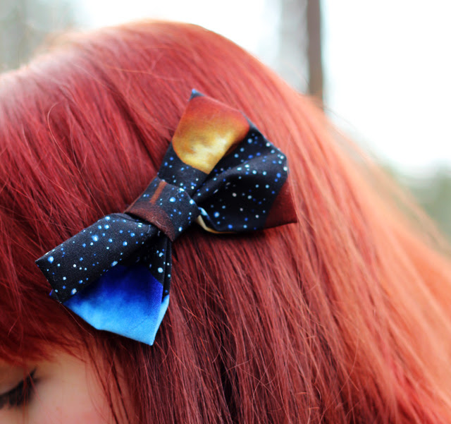 Galaxy Print Bow on Red Hair