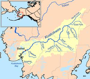 Map of the Kuskokwim River watershed.