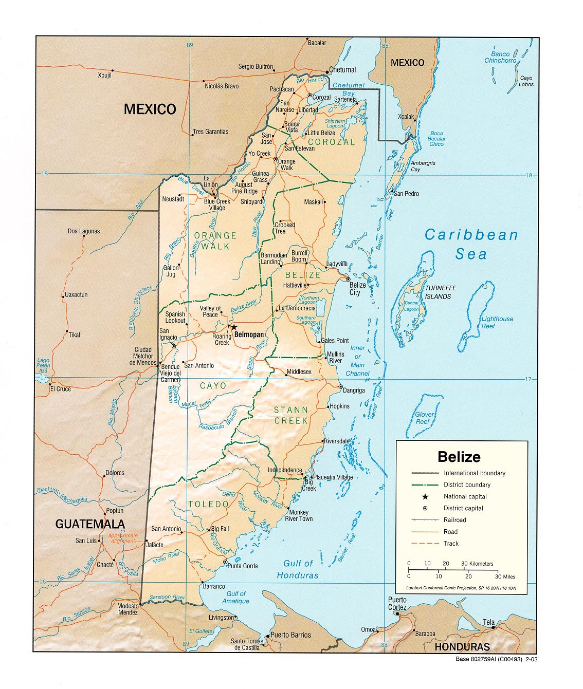 Belize Map - Free Ma