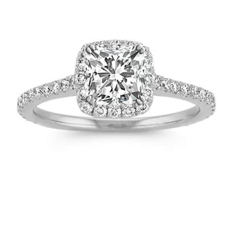 Halo Diamond Engagement Ring for 1.00 Carat Cushion Cut