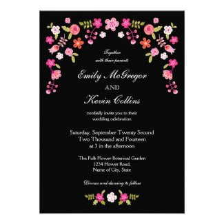 Elegant Folk Floral Wedding Invitation
