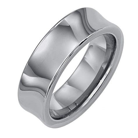 7mm wide tungsten carbide concave mens wedding band