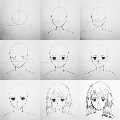 step  step tutorial    draw  animemanga girl