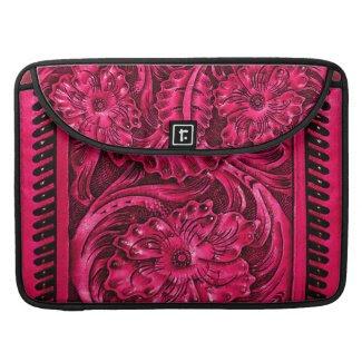 Rustic Tooled Leather Look | fuchsia Sleeve For MacBooks