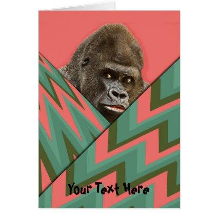 Funny Gorilla Pink Green Chevron Greeting Card